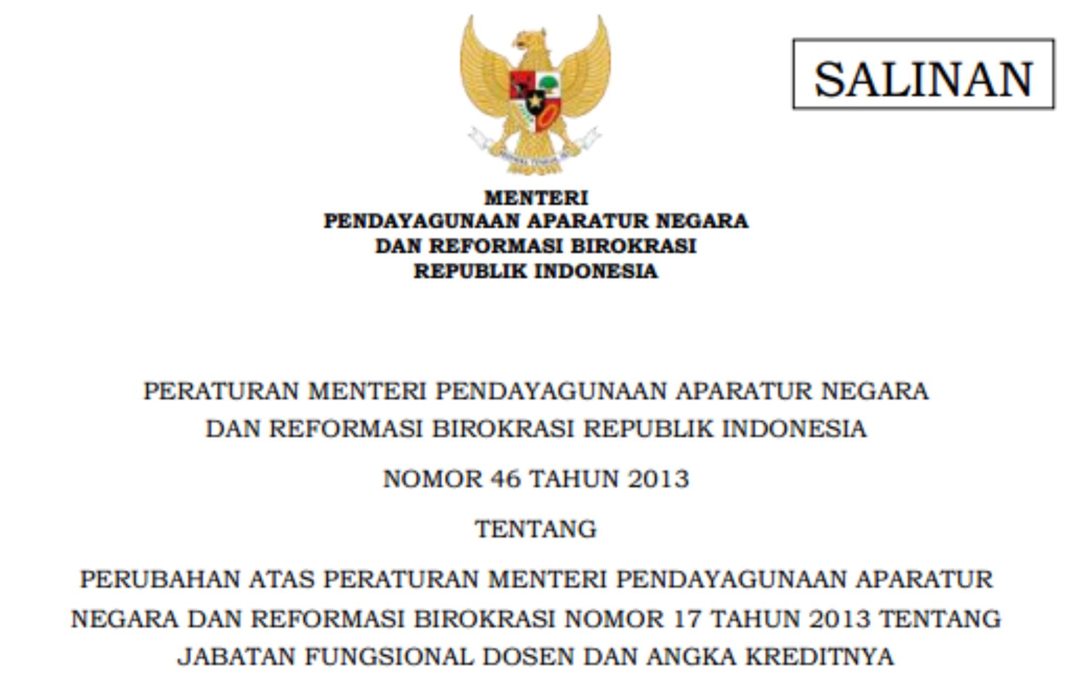 Peraturan Menteri No. 46 Tahun 2013 Tentang Jabatan Fungsional