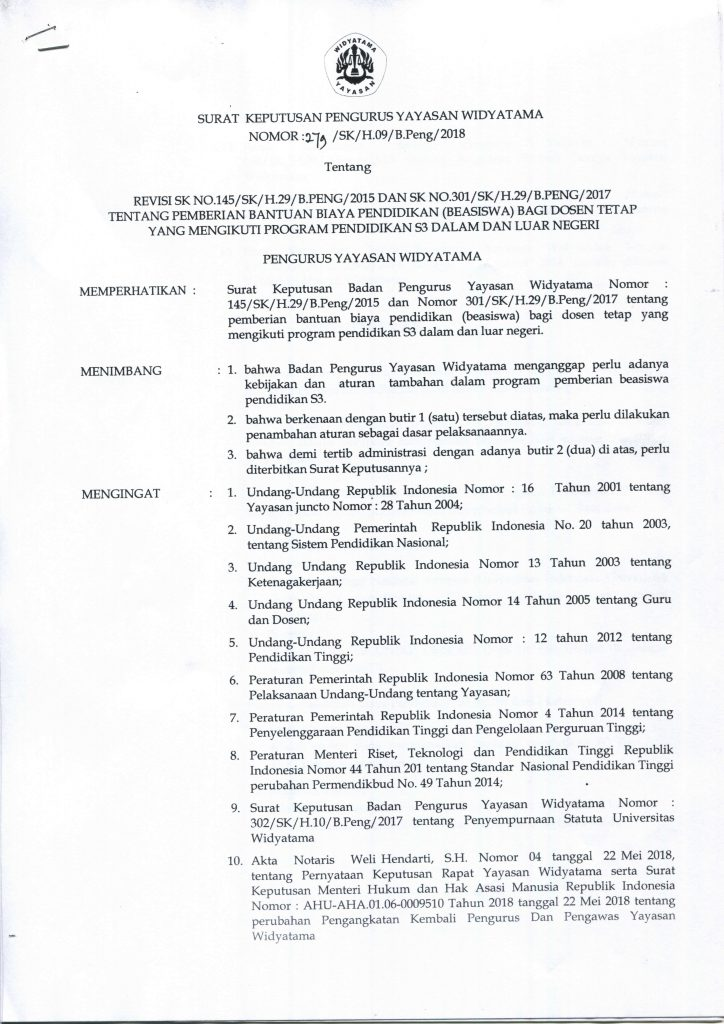 SK Pemberian Bantuan Biaya Pendidikan bagi Dosen Tetap yang Mengikuti Program Pendidikan S3 Dalam dan Luar Negeri