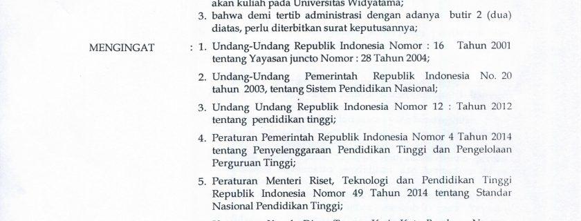 SK Kesempatan Pendidikan dan Keringanan Biaya Pendidikan Bagi Pegawai Yayasan Widyatama yang Kuliah pada Universitas Widyatama