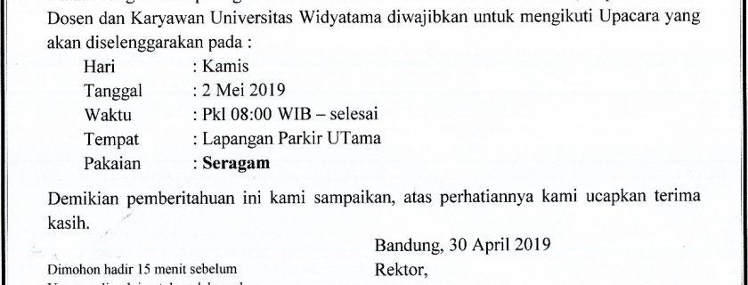 Pengumuman Upacara Hari Pendidikan Nasional 2 Mei 2019